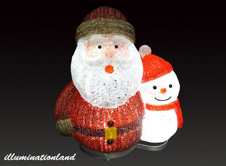 サンタとスノーマン レッド LEDクリスタルグロー【イルミネーション ライト 飾り デコレーション 電飾 オブジェ アンティーク おしゃれ かわいい グッズ LED ディスプレイ】