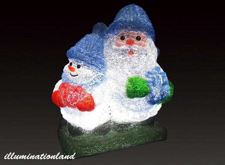 サンタとスノーマン ブルー LEDクリスタルグロー【イルミネーション ライト 飾り デコレーション 電飾 オブジェ アンティーク おしゃれ かわいい グッズ LED ディスプレイ】