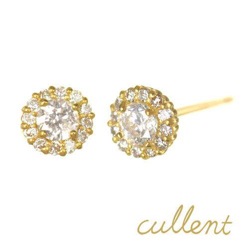 【他商品との同梱不可】 カレン K18 ダイヤモンドピアス cheer K18 diamond pierced earrings cheer 18金 18k ピアス シンプル