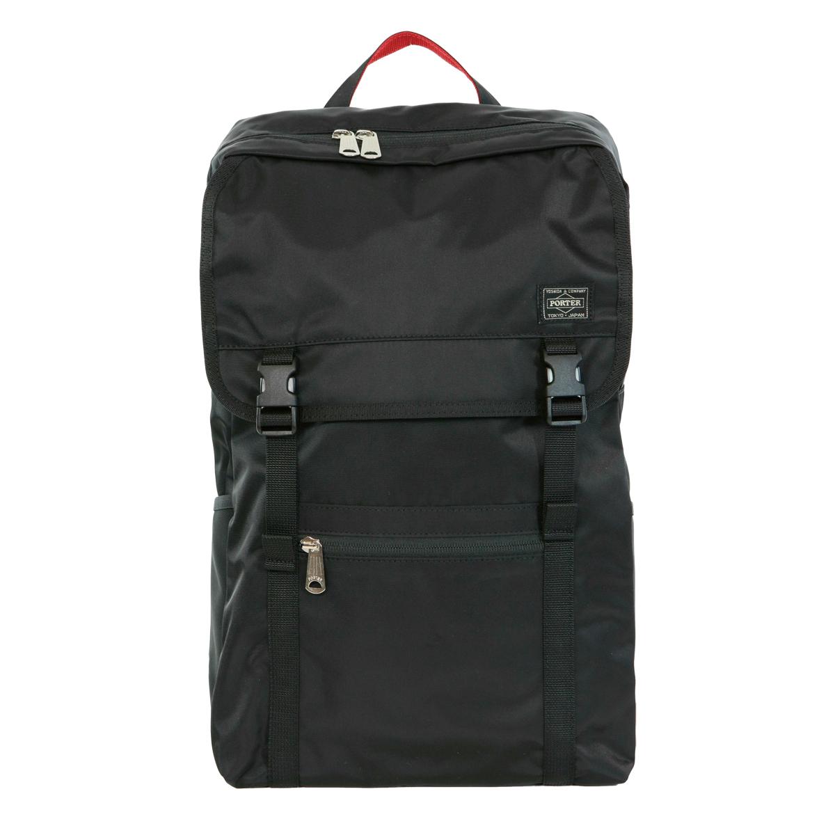 ポーター エルファイン 【PORTER L-fine】PORTER ILS共同企画 バックパック Backpack【LYD383-18123】 ブラック 裏地=レッド Black Backing=Red【送料無料】 黒赤 赤黒 赤 黒