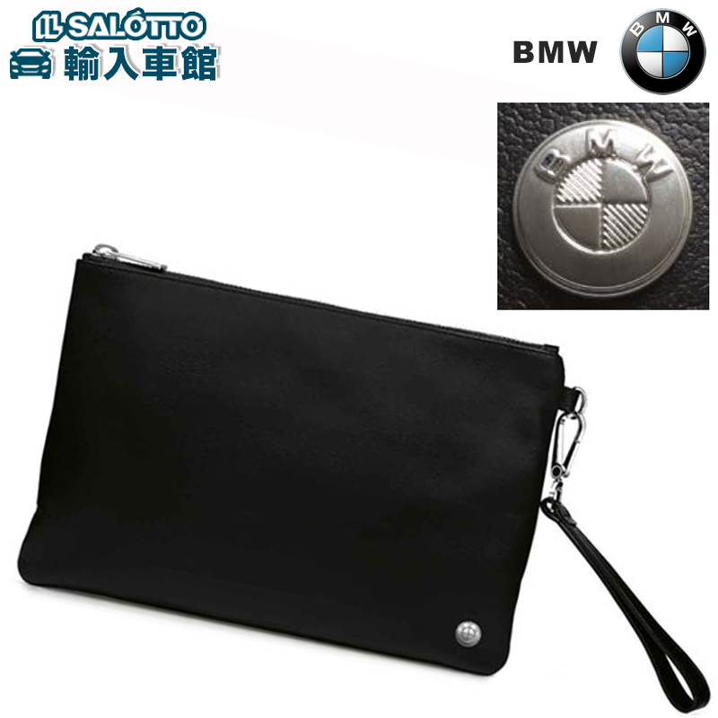 【 BMW 純正 クーポン対象 】 レザーポーチ ブラック イタリア製 脱着可能なレザー ハンドル バックにジッパー付きポケット 上質なレザーを使用
