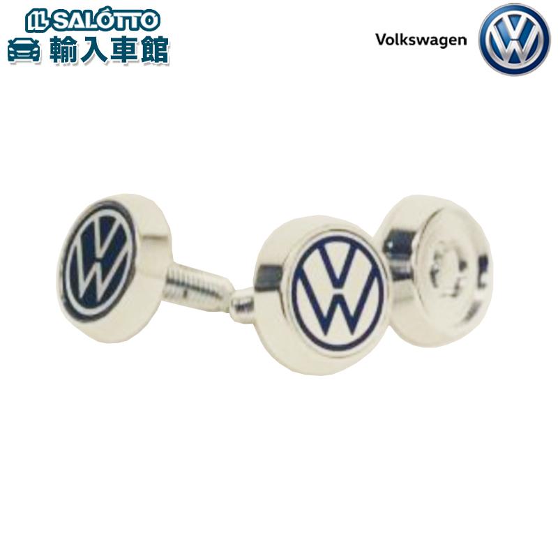 超歓迎された 訳ありセール 格安 フォルクスワーゲン オリジナル アクセサリー VW 純正 ロゴ入り ボルト ロック クロムメッキ ドレスアップ ナンバープレート