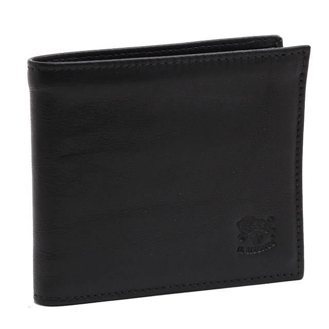 【スペシャルクーポン15%OFF】イルビゾンテ/IL BISONTEコンパクトウォレット・2つ折り財布(ブラック)C0487 MP153/COWHIDELEATHER/411853/NERO