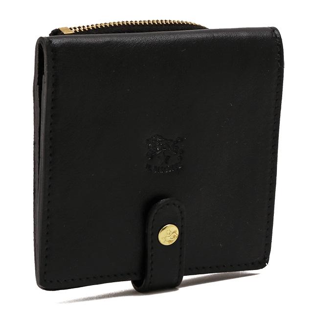 【スペシャルクーポン15%OFF】イルビゾンテ/IL BISONTEL字ファスナーコインケース付きコンパクトウォレット・2つ折り財布(ブラック)C0962 P153/COWHIDELEATHER/MERO