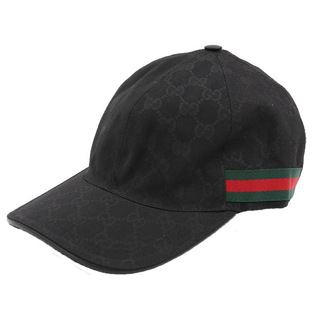 【クーポンで10%OFF】グッチ/GUCCIGGキャンバス×ウェビングデザインキャップ/・ハット・帽子(ブラック)200035 KQWBG 1060/BLACK