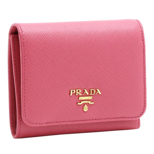 【スペシャルクーポン15%OFF】プラダ/PRADAメタルロゴ・型押しレザー3つ折り財布(ペオニア・ピンク)1MH176 SAFFIANO METAL (QWA)PEONIA