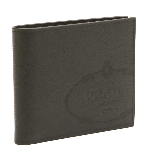 【クーポンで10%OFF】プラダ/PRADA型押しロゴデザインレザー2つ折り財布・札入れ(ブラック)2MO513 SAFFIANO PRINT(2MB8)NERO