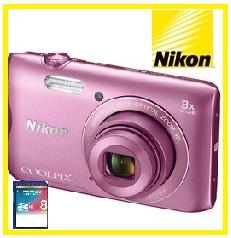 【今ならSDHCカード8GB付き】Nikon・ニコン デジカメ Wi-Fi内蔵光学8倍ズーム クールピクス COOLPIX A300 PK ピンク【***特別価格***】