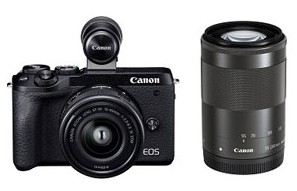 【送料無料】Canon・キヤノン デジタル一眼レフカメラ EOS M6 Mark II ダブルズームEVFキット ブラック【***特別価格***】