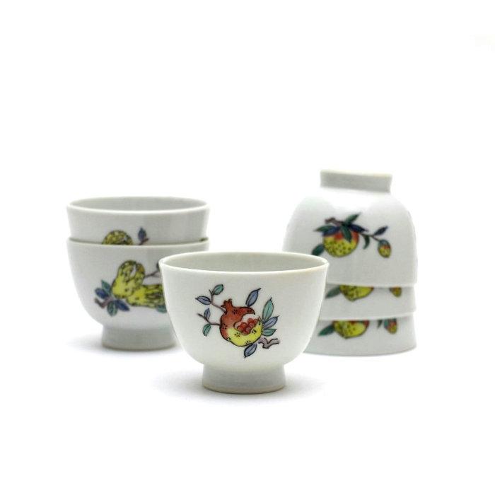 色絵三果図煎茶碗 6客 芳山作