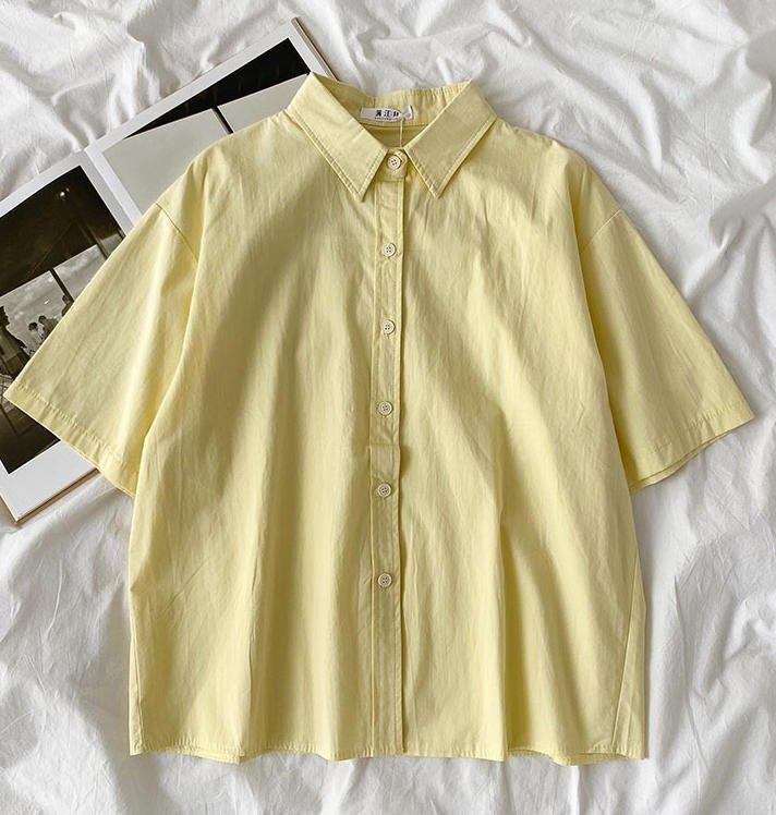 送料無料 ブラウス シャツ 半袖 トップス ゆったり 通常便なら送料無料 シンプル 無地 カジュアル きれいめ ピンク ホワイト グリーン 新作 上品 TP-167 ブルー 30代 40代 イエロー