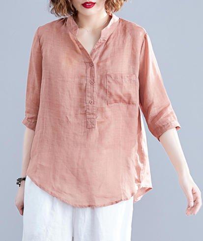 送料無料 リネンシャツ ブラウス シャツ トップス 大きいサイズ リネン ゆったり 無地 カジュアル 人気の定番 シンプル TP-282R 40代 きれいめ 訳あり商品 30代 ベーシック ピンク ブルー 大人