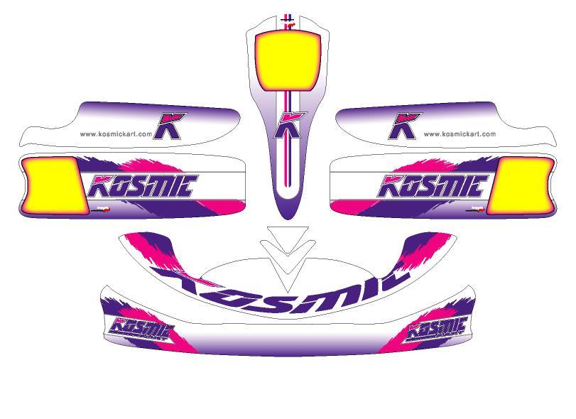 再入荷 予約販売 Racing Kartボディーパーツ レーシングカート 特注品 日本未発売 カウルステッカーM3用-KOSMIC仕様-1