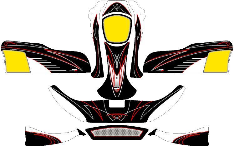 セール特別価格 Racing Kartボディーパーツ レーシングカート 卸直営 特注品 カウルステッカーNA2用 KM08