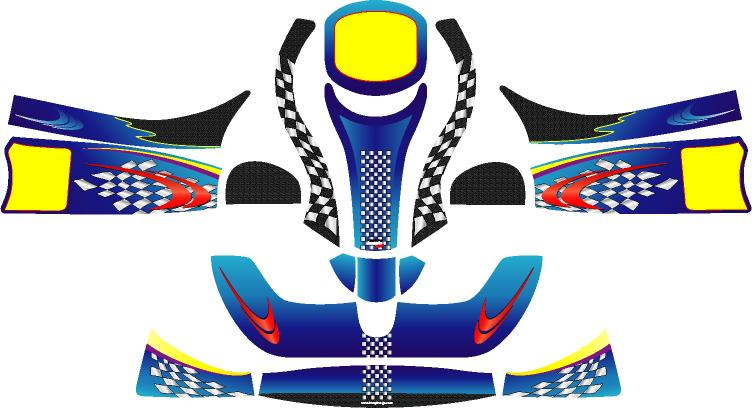 Racing Kartボディーパーツ レーシングカート 特注品 レビューを書けば送料当店負担 カウルステッカーフリーライン用1 未使用品