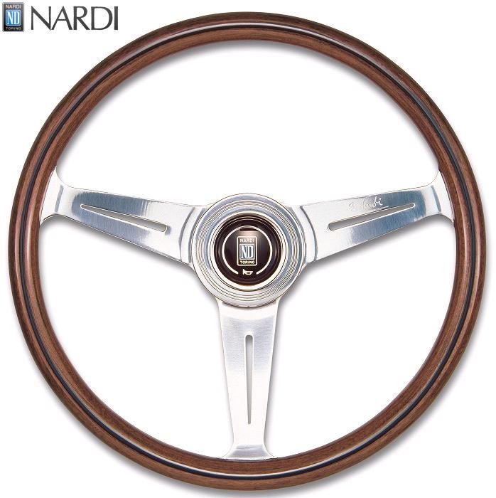 NARDI ナルディ N140 ウッド&ポリッシュスポーク ステアリング 径380mm NARDIホーンボタン、ホーリング付【お取り寄せ商品】【ハンドル、ステアリング】