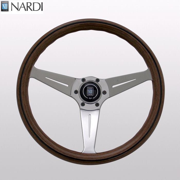 NARDI ナルディ N770 ウッド&ポリッシュスポーク ディープコーン ステアリング 径350mm NARDIホーンボタン付 オフセット80mm【お取り寄せ商品】【ハンドル、ステアリング】