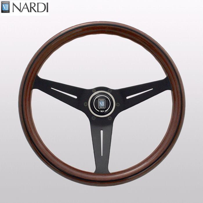 NARDI ナルディ N771 ウッド&ブラックスポーク ディープコーン ステアリング 径350mm NARDIホーンボタン付 オフセット80mm【お取り寄せ商品】【ハンドル、ステアリング】