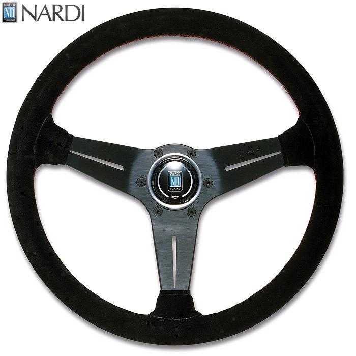 NARDI ナルディ N754 スウェード&ブラックスポーク ディープコーン レッドクロスステッチ ステアリング 径350mm NARDIホーンボタン付 オフセット80mm【お取り寄せ商品】【ハンドル、ステアリング】