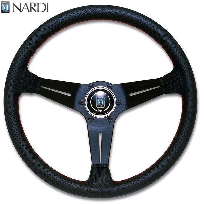NARDI ナルディ N755 パンチングレザー&ブラックスポーク ディープコーン レッドクロスステッチ ステアリング 径350mm NARDIホーンボタン付 オフセット80mm【お取り寄せ商品】【ハンドル、ステアリング】