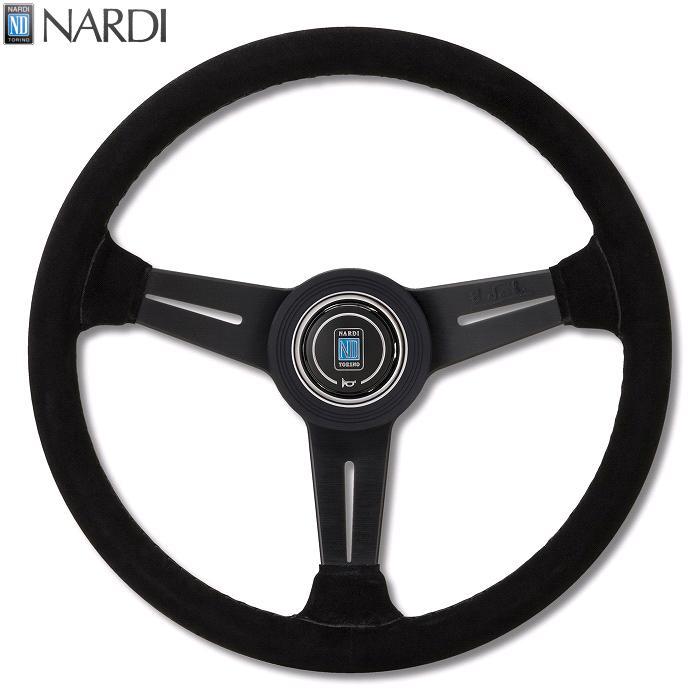 NARDI ナルディ N115 ブラックスエード&ブラックスポーク ブラックステッチ ステアリング 径330mm NARDIホーンボタン、ホーンリング付【お取り寄せ商品】【ハンドル、ステアリング】