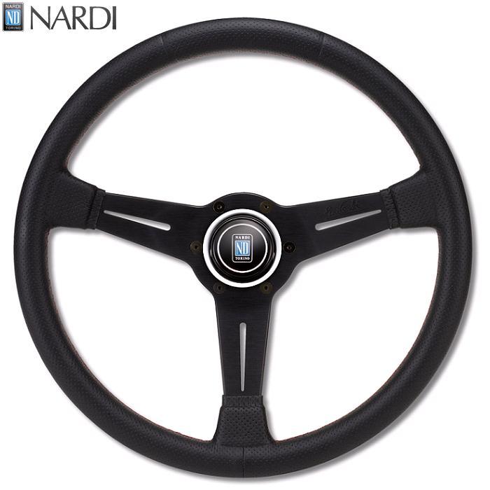NARDI ナルディ N750 SPORTS TYPE A パンチングレザー レッドクロスステッチ ステアリング 径360mm NARDIホーンボタン付【お取り寄せ商品】【ハンドル、ステアリング】
