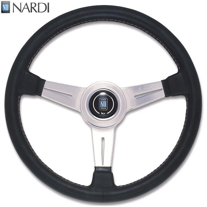 NARDI ナルディ N132 ブラックレザー&ポリッシュスポーク グレーステッチ ステアリング 径360mm NARDIホーンボタン、ホーンリング付【お取り寄せ商品】【ハンドル、ステアリング】