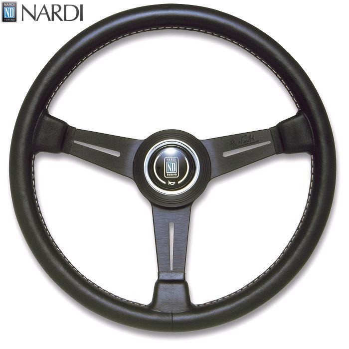 NARDI ナルディ N150 ブラックレザー&ブラックスポーク グレーステッチ ステアリング 径380mm NARDIホーンボタン、ホーンリング付【お取り寄せ商品】【ハンドル、ステアリング】