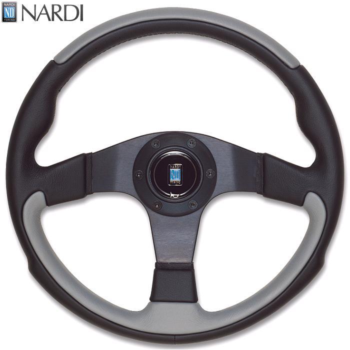 NARDI ナルディ N802 ブラック/グレーレザー&ブラックスポーク ステアリング 径350mm NARDIホーンボタン、ホーンリング、ビス付属【お取り寄せ商品】【ハンドル、ステアリング】