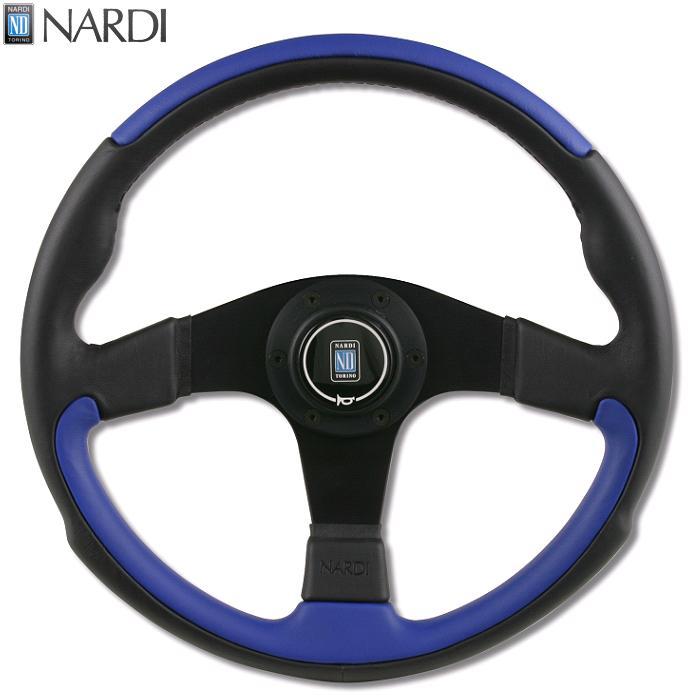 NARDI ナルディ N810 ブラック/ブルーレザー&ブラックスポーク ステアリング 径350mm NARDIホーンボタン、ホーンリング、ビス付属【お取り寄せ商品】【ハンドル、ステアリング】