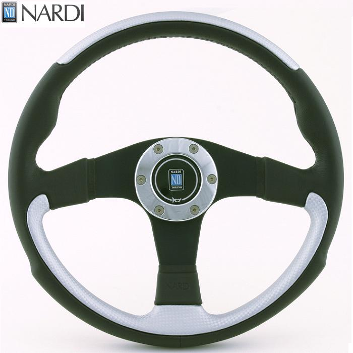 NARDI ナルディ N804 ブラック/INOXシルバーレザー&ブラックスポーク ステアリング 径350mm NARDIホーンボタン、ホーンリング、ビス付属【お取り寄せ商品】【ハンドル、ステアリング】