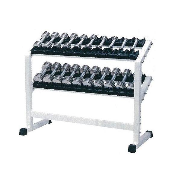 【別途送料が掛かります(K)】PCS-2800 クロームダンベル・ラック付セットグリップ25mm固定式1kg~10kg付【メーカー直送品】【同梱/代引き不可】