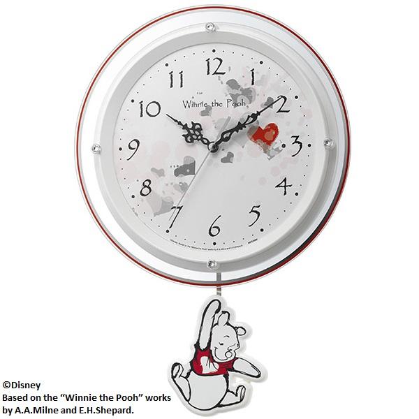 リズム時計 8MX407MC03 くまのプーさん 振り子時計【くまのプーさん・掛時計・クロック】【お取り寄せ商品】【代引不可】