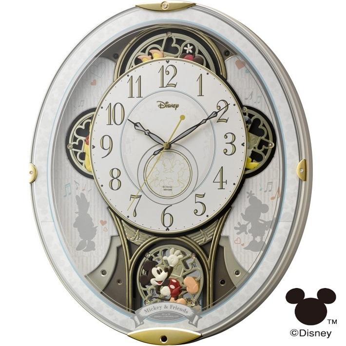 リズム時計 4MN509MC03 ミッキー&フレンズ M509 からくり時計【ミッキーマウス・掛時計・クロック】【お取り寄せ商品】【代引不可】