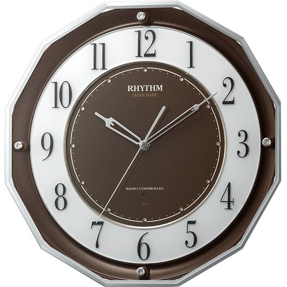 RHYTHM(リズム)4MY846SR06 スリーウェイブM846 茶メタリック 電波掛時計 日本製【リズム時計・掛け時計・クロック】【お取り寄せ商品】【代引不可】