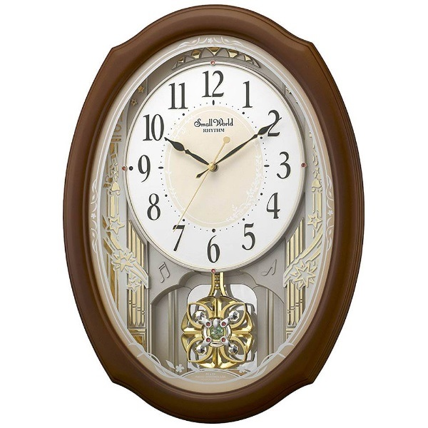 リズム時計 4MN541RH06 スモールワールドセレブレ 電波アミューズ時計【掛時計・クロック】【お取り寄せ商品】【代引不可】