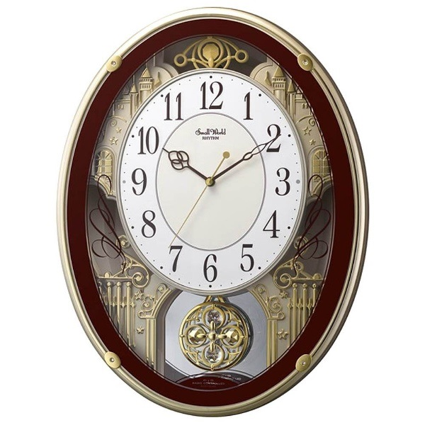リズム時計 4MN523RH06 スモールワールドプラウド 電波アミューズ時計【掛時計・クロック】【お取り寄せ商品】【代引不可】