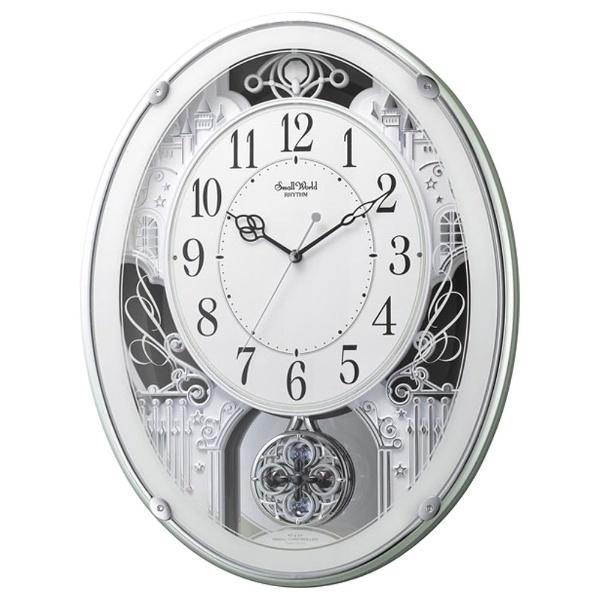 リズム時計 4MN523RH05 スモールワールドプラウド 電波アミューズ時計【掛時計・クロック】【お取り寄せ商品】【代引不可】