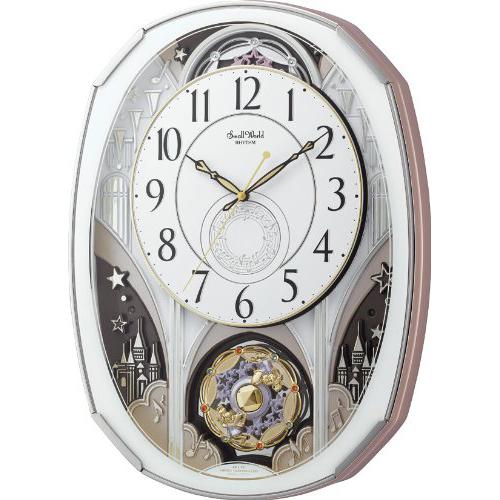 リズム時計 4MN513RH03 スモールワールドノエルM 白 電波からくり時計【掛時計・クロック】【お取り寄せ商品】【代引不可】
