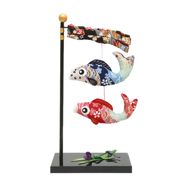 リュウコドウ 2-117 五月人形 ちりめん(大)跳ね鯉のぼり 2匹 【お取り寄せ商品】【端午の節句/五月人形/兜飾り/鯉のぼり】