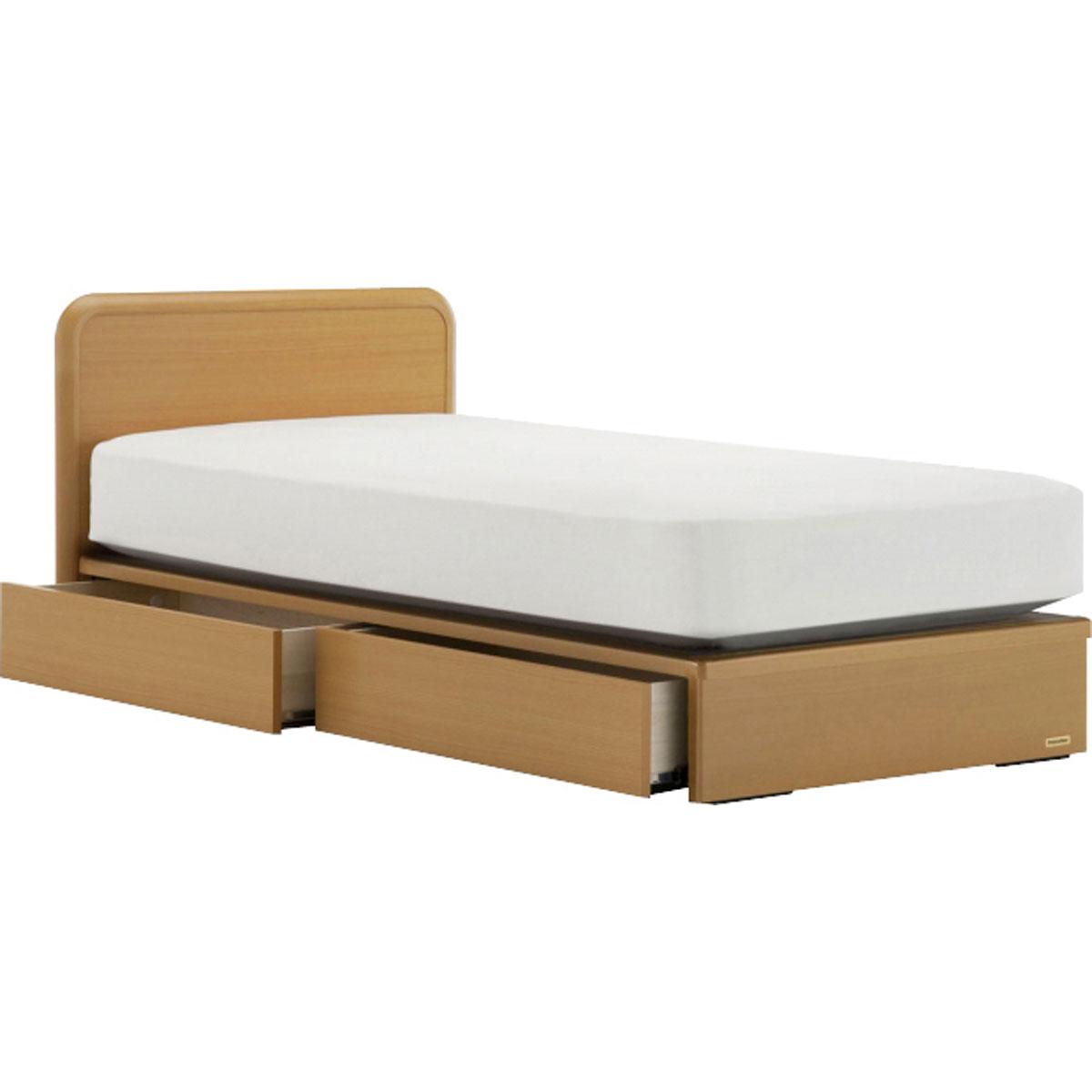 【本州四国は開梱設置*組立別途】 フランスベッド 引き出し付き ベッドフレーム ビーチ色 シングルサイズ スノコ床板 【5梱包】 RD-L202F S-DR-BCH-SUN
