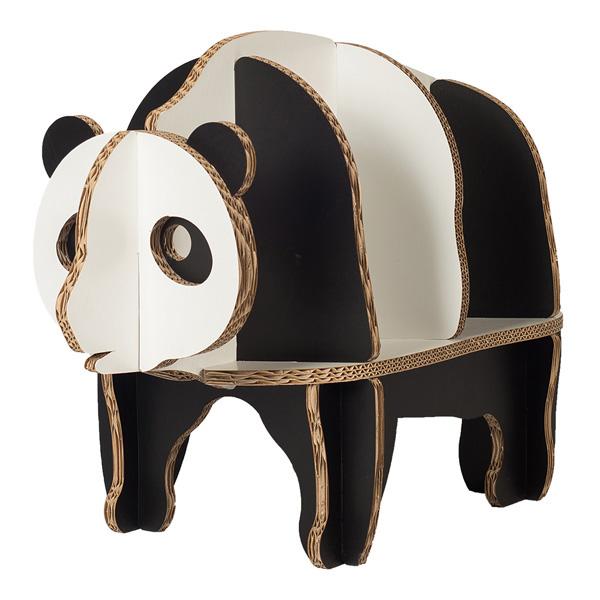 FunnyPaper(ファニーペーパー) Panda Bookshelf 段ボール 本棚 パンダ 37.8x81.1x54.9cm