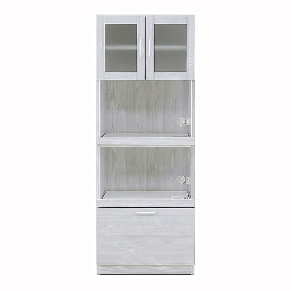 背の低い女性のための食器棚 高さ154cm キッチンボード レンジボード レンジ台コンパクト グレー 【幅60.3×奥行39.8×高さ154cm】 60K-2