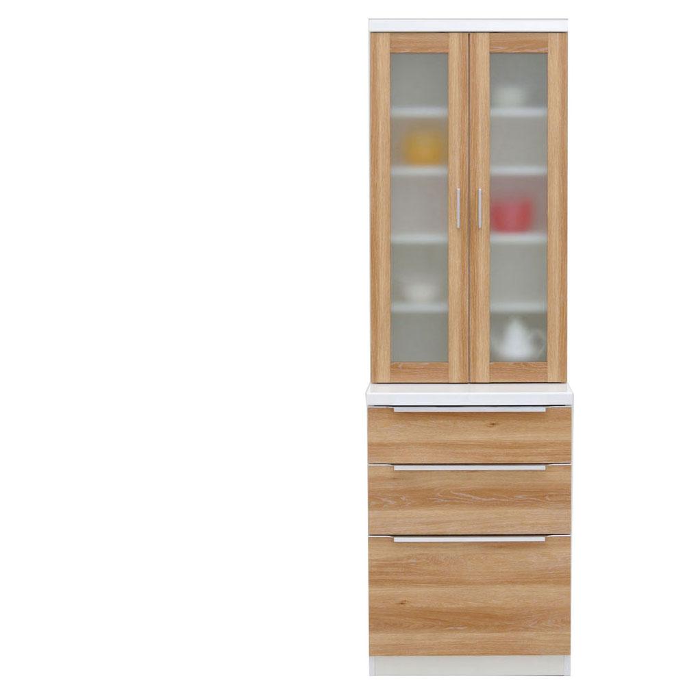 共和産業 コロン キッチンボード 食器棚 60 ナチュラル【幅60.3×高さ200cm】 2個口 日本製 国産