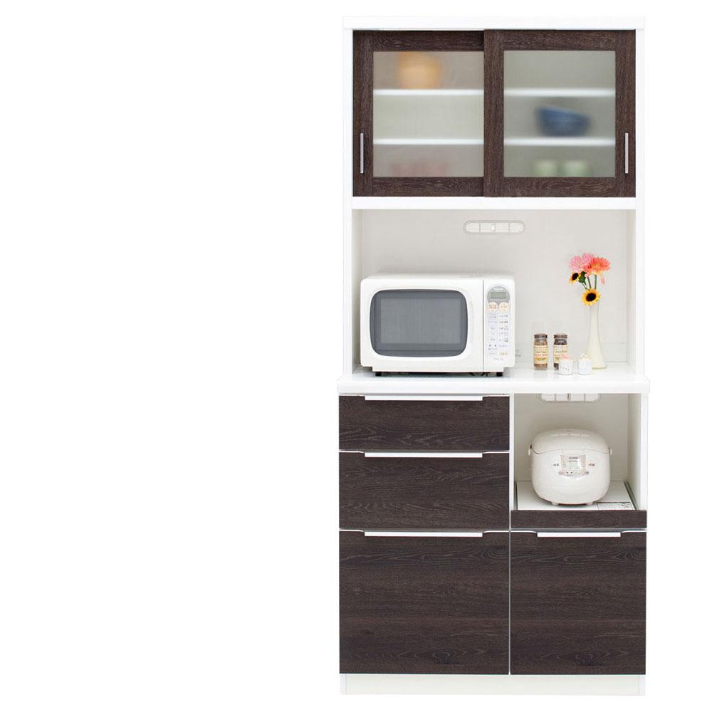 共和産業 コロン キッチンボード 食器棚 90 ブラウン【幅90.3×高さ200cm】 2個口 日本製 国産