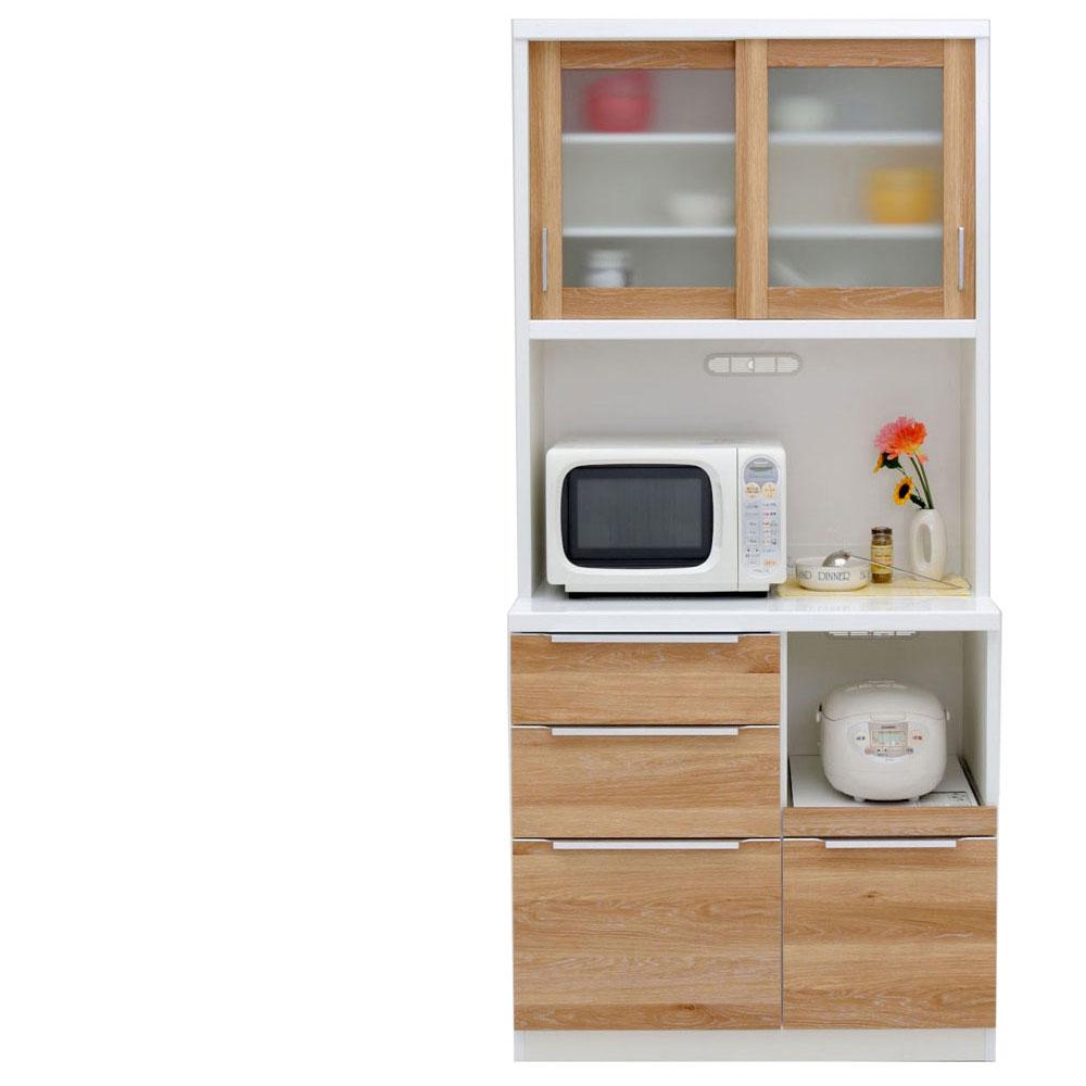 共和産業 コロン キッチンボード 食器棚 90 ナチュラル【幅90.3×高さ200cm】 2個口 日本製 国産