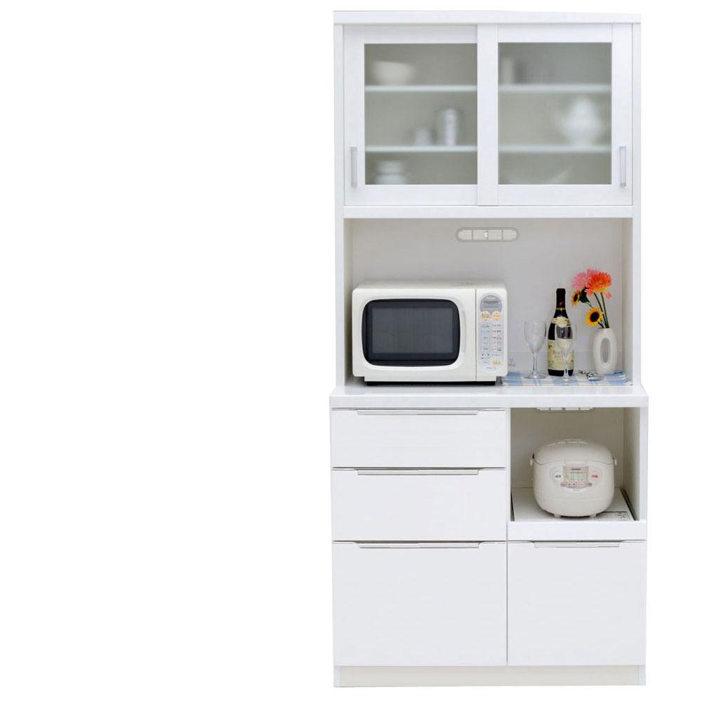 共和産業 コロン キッチンボード 食器棚 90 ホワイト【幅90.3×高さ200cm】 2個口 日本製 国産