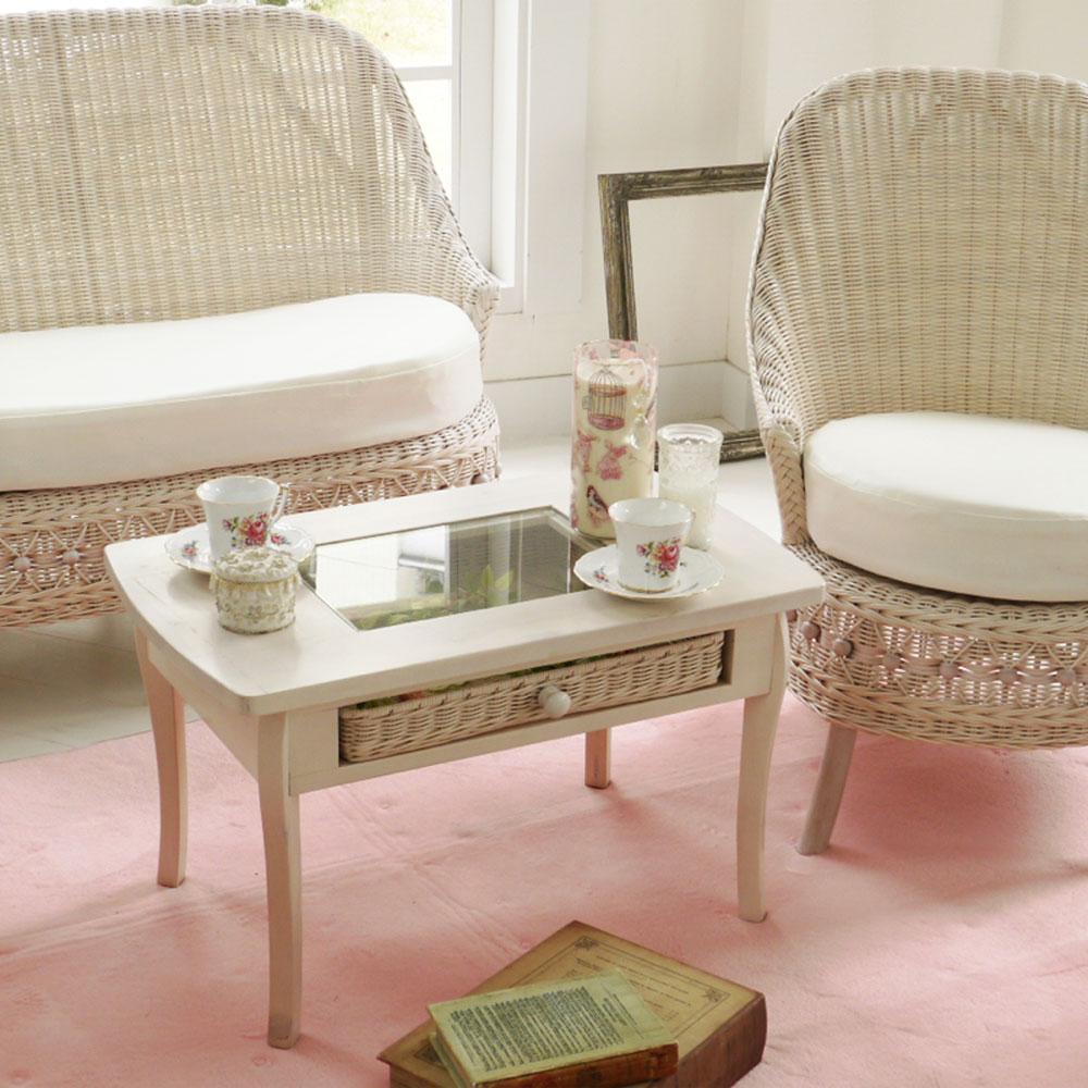 フィオーレ テーブル RAW-T803WW ガーリーテイスト 姫系 フレンチカントリー ホワイトラタン かわいい 籐製 アジアン 新生活