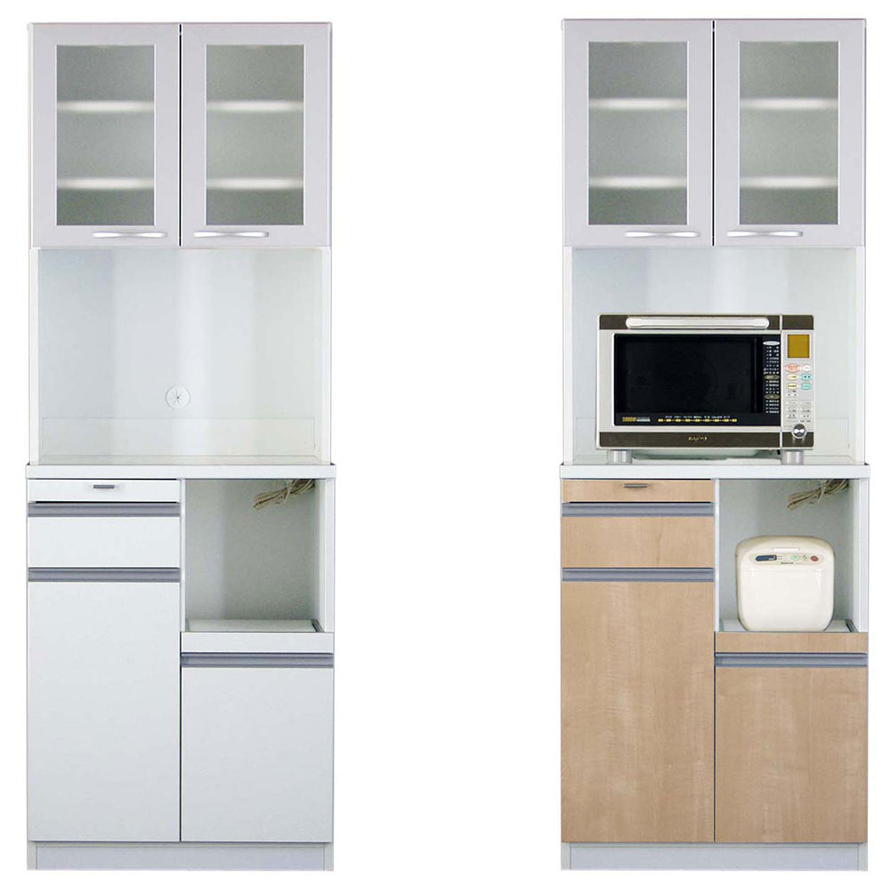 高橋木工所 スマートII キッチンボード 70Sオープン 幅70.3×奥行45×高さ193cm ホワイト 家電ボード 食器棚