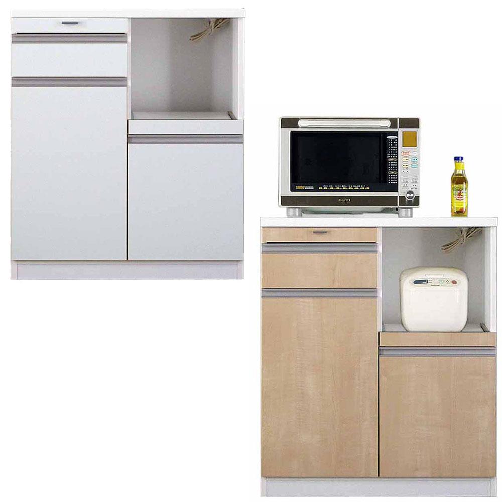 高橋木工所 スマートII キッチンボード 80Sカウンター 幅80.3×奥行45×高さ93cm ホワイト 家電ボード 食器棚 新生活